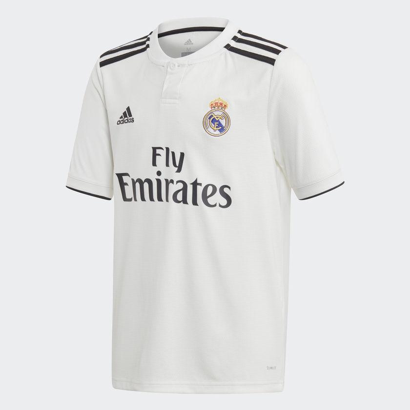 Adidas Real Madrid Domicile Boy Soccer Jersey, Core White / Black, Fr: Xl (manufacturer Size: 164) Cg0554 164