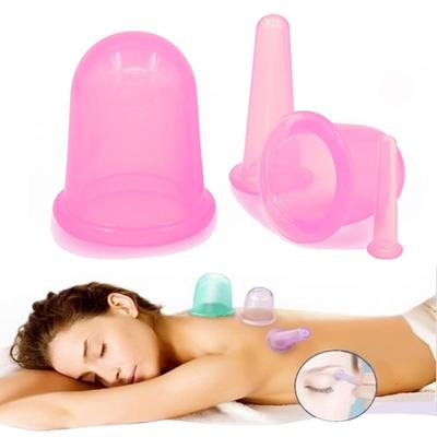 4pc Massage Cupping Therapy Set Wrinkle And Anti-Aging Effect Silicone Vacuum Kit