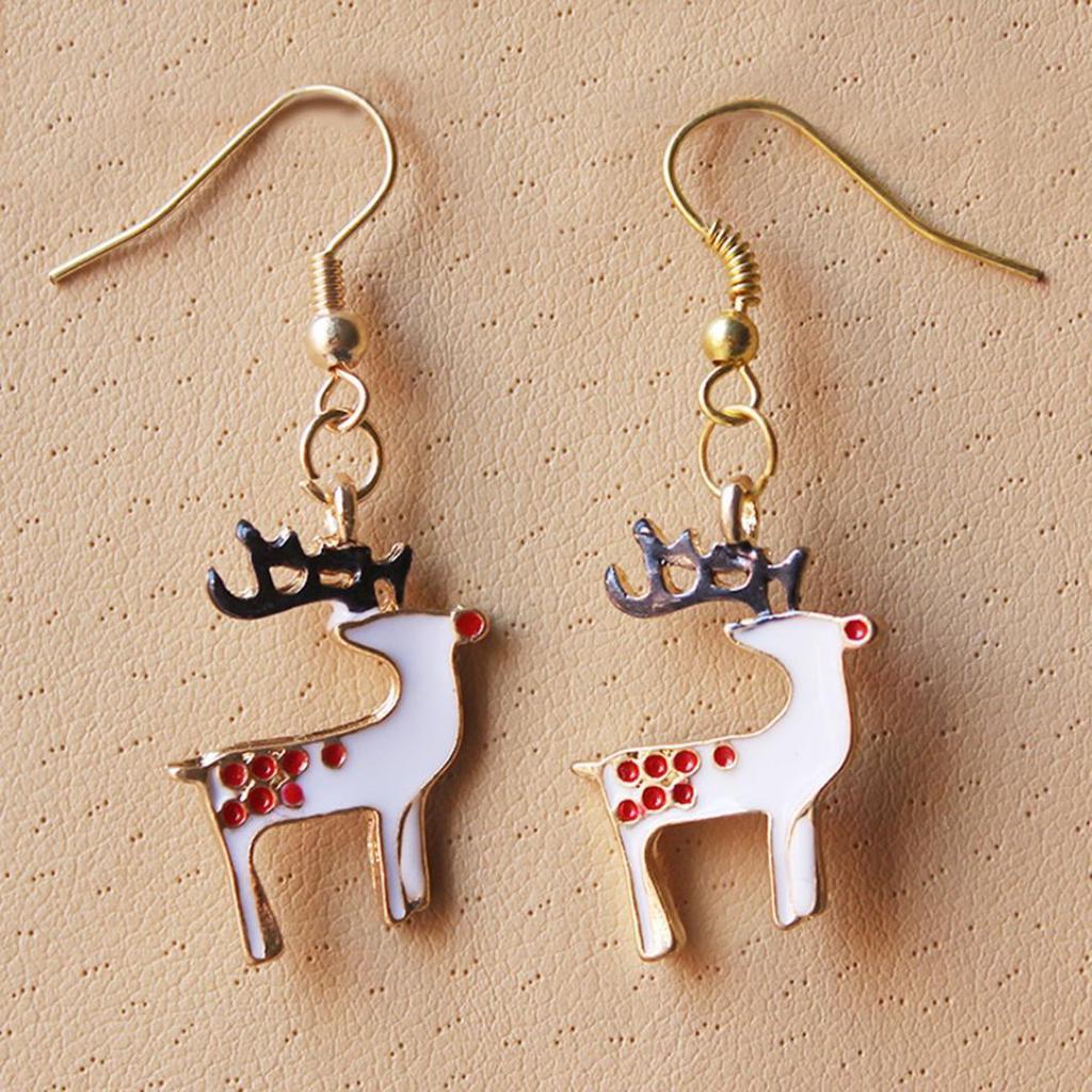 Charm Santa Clauss Reindeer Stud Earring Two Tone Deer Ear Jewelry