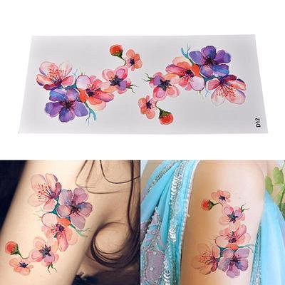 Women Waterproof Temporary Fake Tattoo Sticker Watercolor Orchid Arm