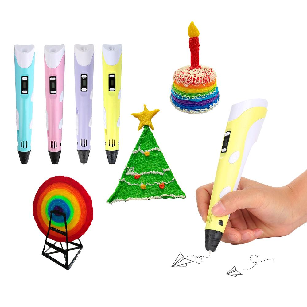 3D Pen with LED Display Speed/&Temperature Control 3D Drawing Doodler Pen with 3 Color PLA Filament Refills-Green