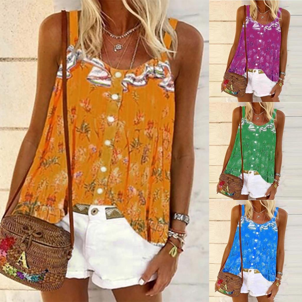 Womens Flared Swing Vest Sleeveless Shirt Strappy Cami Beach Tank Tops Plus Size