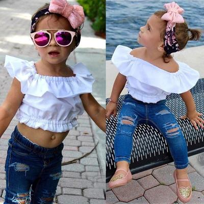 UK Kid Baby Girl Summer Bowknot Crop Top T Shirt Wide Leg Pants Outfit Clothes