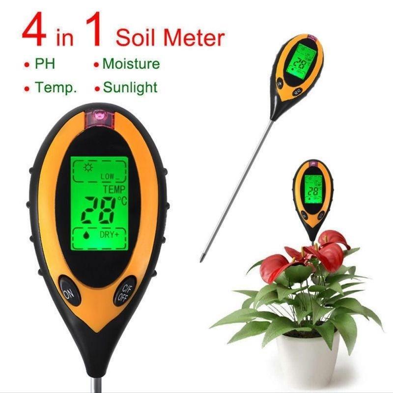 4 In1 Soil Digital Temperature Sunlight Moisture Humidity PH Meter For Gardening