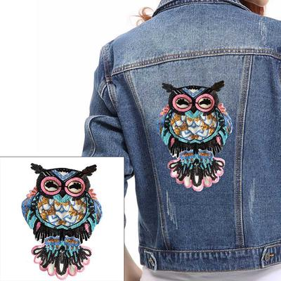 Sew On Patch Bag Jacket T Shirt Jeans Badge Transfer Pink Owl Embroidered Iron