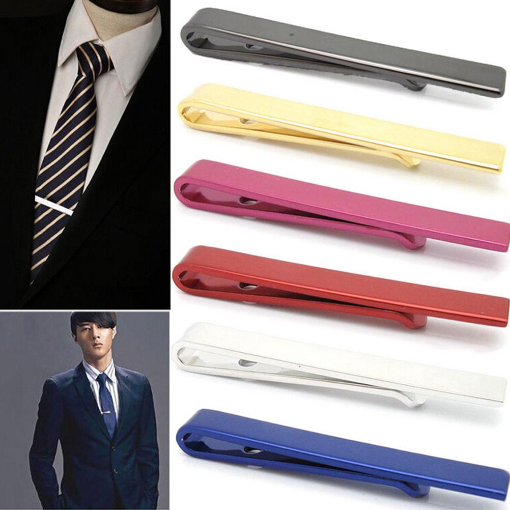 Men Metal Necktie Tie Bar Clasp Clip Clamp Silver Tone Formal Dress Shirt