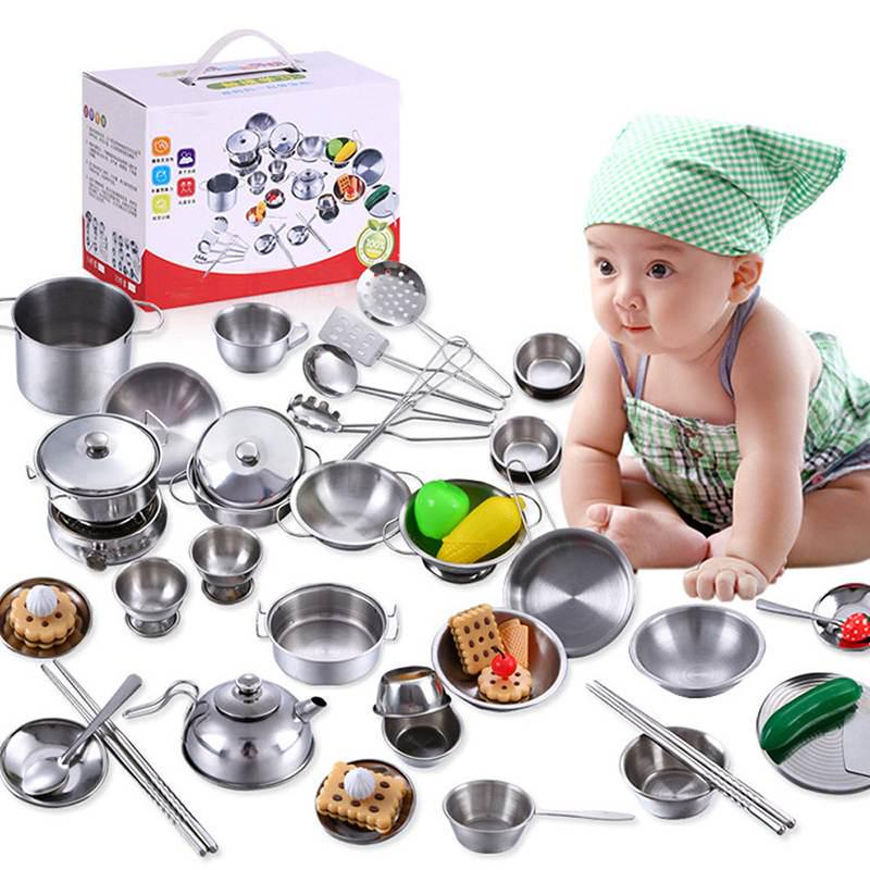 1set 25pc Kids House Kitchen Toys Stainless Steel Cooking Cookware Pots Pan Children Pretend Play Playset Silver Figures Buy From 23 On Joom E Commerce Platform