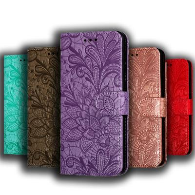 Lace Flower Embossing Leather Flip Wallet Case For Xiaomi Redmi Note 10 8 Pro 9S 8T 8A 7A 7 Redmi 9T 9 10 9C 9A 9AT Xiaomi Mi 11 Lite 11i A3 6 A2 Lite