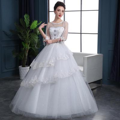 Cxy Simple White Dress Long-Sleeved Trailing Bandage Bridal Wedding Dress