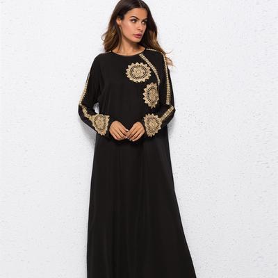 438397151e6 Fashion Middle Eastern Muslim Arabian Embroidered Applique Dress Robe