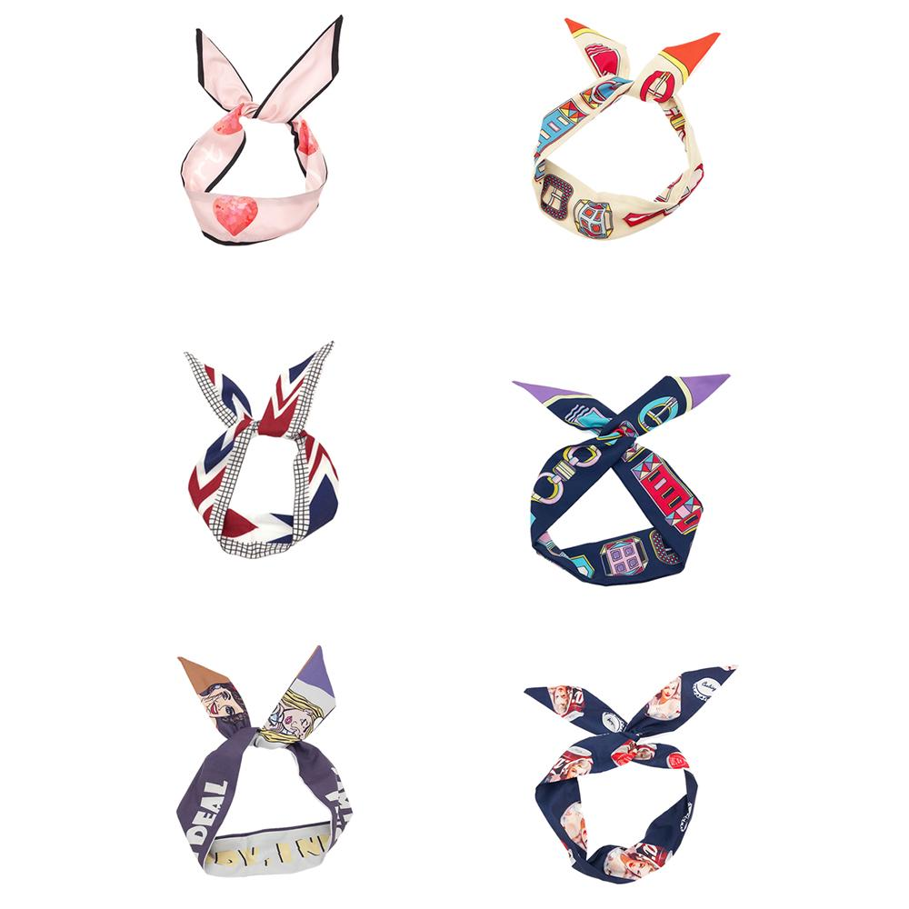 Charm Women Flower Rabbit Chiffon Hairband Sport Yoga Stretch Knotted Headdress