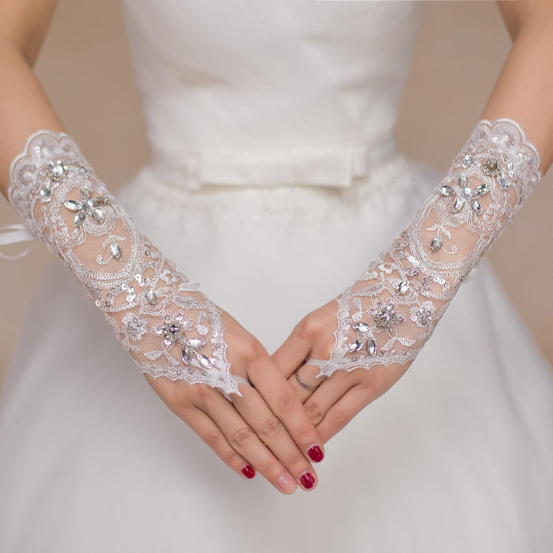 14323d03b69 Popular Dress Bride Wedding Beads Rhinestone Short Gloves Lace Fingerless  Gloves-buy at a low prices on Joom e-commerce platform