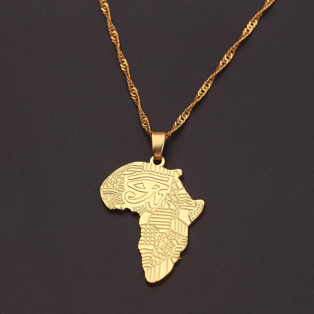 EGYPTIAN AFRICA MAP EYE OF HORUS PENDANT /& 4mm CUBAN LINK CHAIN HIP HOP NECKLACE
