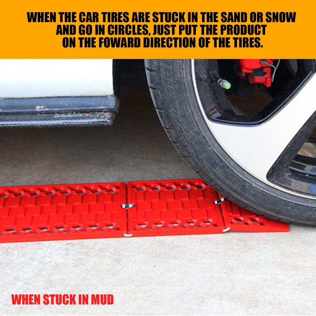 1PCS Car Wheel Anti-Skid Pad Skid Plate Tire Traction Durable Mud Sand Snow Red