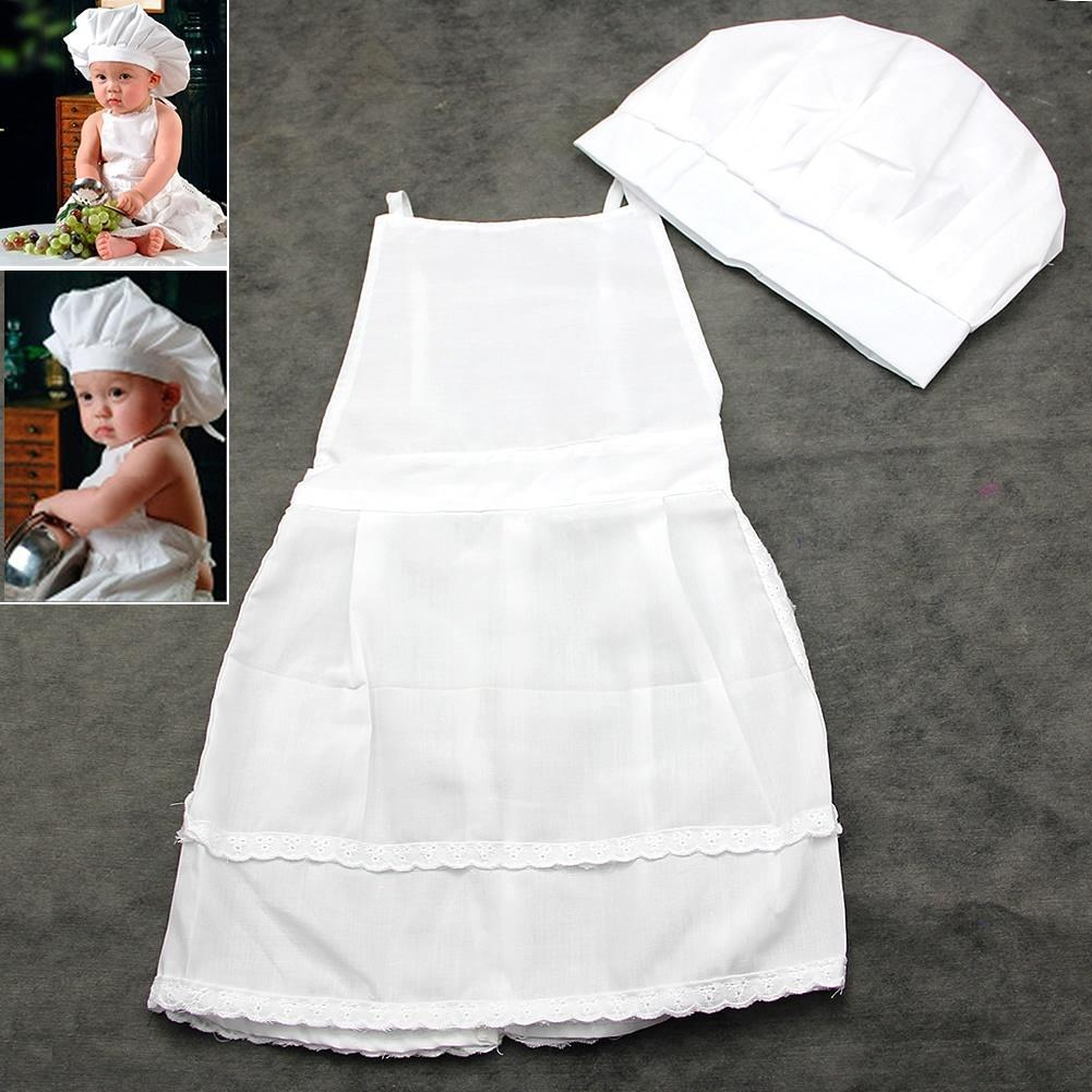 2Pcs Baby Cute Chef Apron and Hat Infant Kid White Cook Costume Photography Prop
