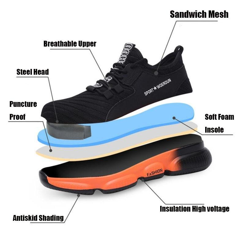 Mens Work Safety Shoes Slip-Resistant Anti-Puncture Lightweight Industrial M4N9
