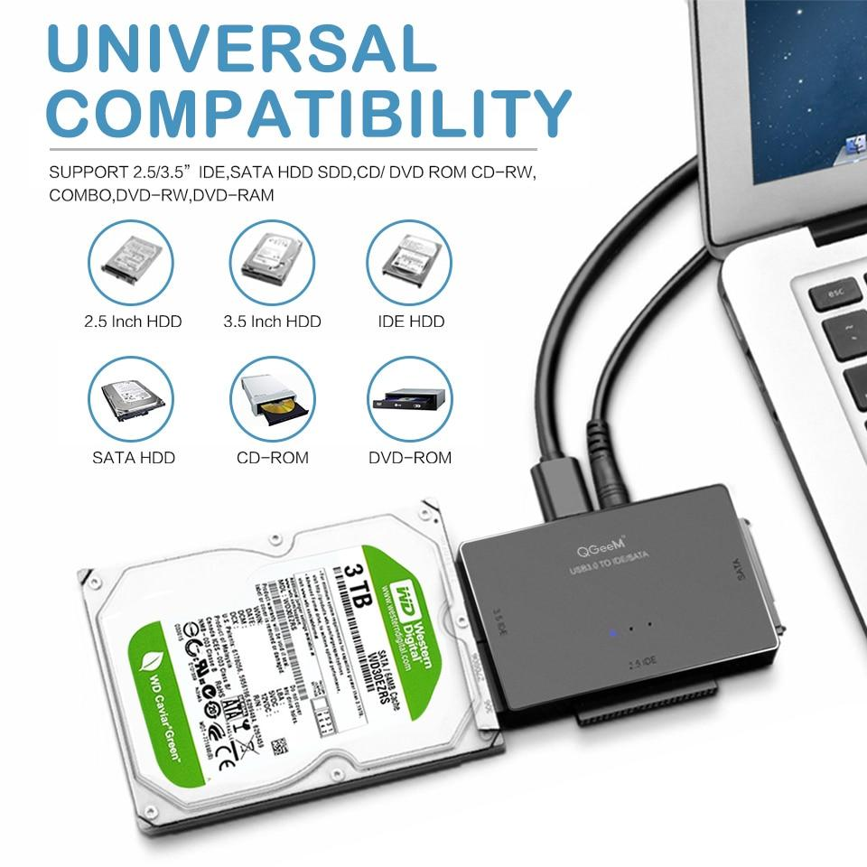 Qgeem Sata To Usb Ide Adapter Usb 3 0 Sata 2 5 3 5 Hard Disk Drive Hdd Ssd Usb Converter Ide Sata To Usb Sata Adapter Cable Buy At A Low Prices On Joom E Commerce