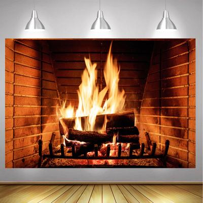 90x60/60x40CM Christmas Theme Fireplace Flame Wall Decor Photography Props Backdrop Home Decoration