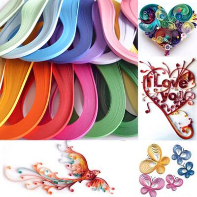 red DOACT Quilling Paper600 Stripes DIY Quilling Paper 3mm Width Pure Color Origami Paper Hand Craft Decoration