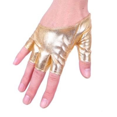 Fashion Women Wet Look Leather Half Fingerless Driving Dance Party Gloves Mitten