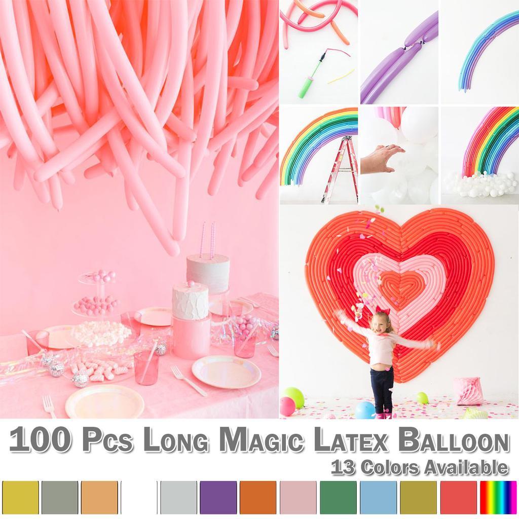 100 PCS Long Magic Latex Twisting Balloon DIY Party Birthday Decoration 13 Color