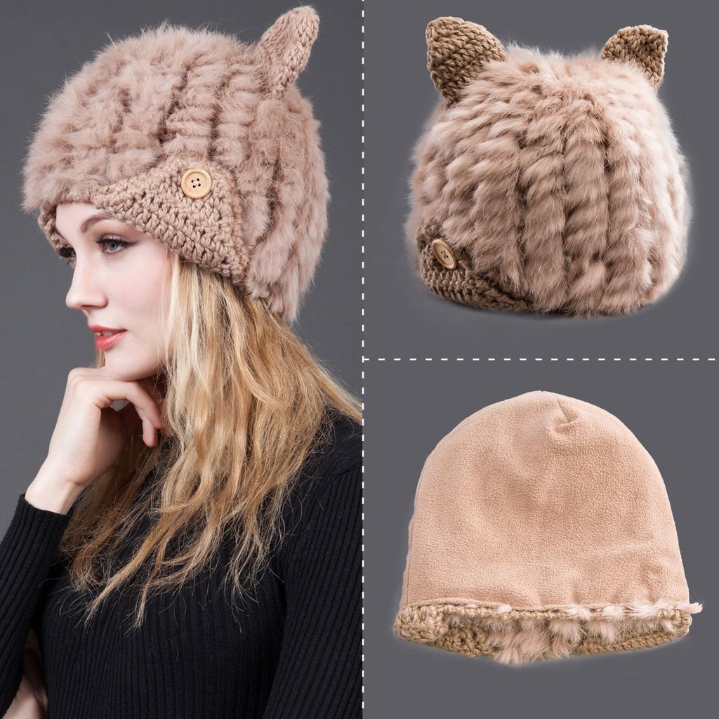 Sombrero otoño invierno Casual mujeres bordado Gato oído patrón Hat ...