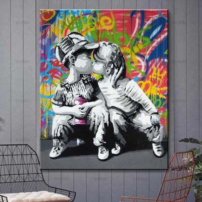 Monkey Love Couple Kissing Graffiti 3Pcs Canvas Print Painting Wall Art Pictures