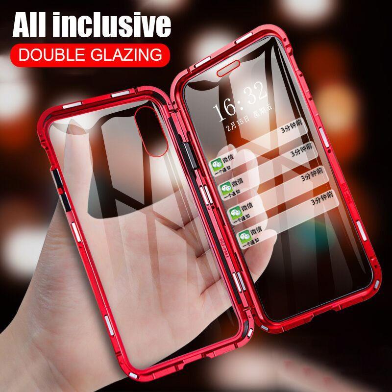 360 Магнитный металл Телефон Дело Двойное боковое стекло для Iphone XR XS MAX 6 6S Плюс 7 6 Плюс
