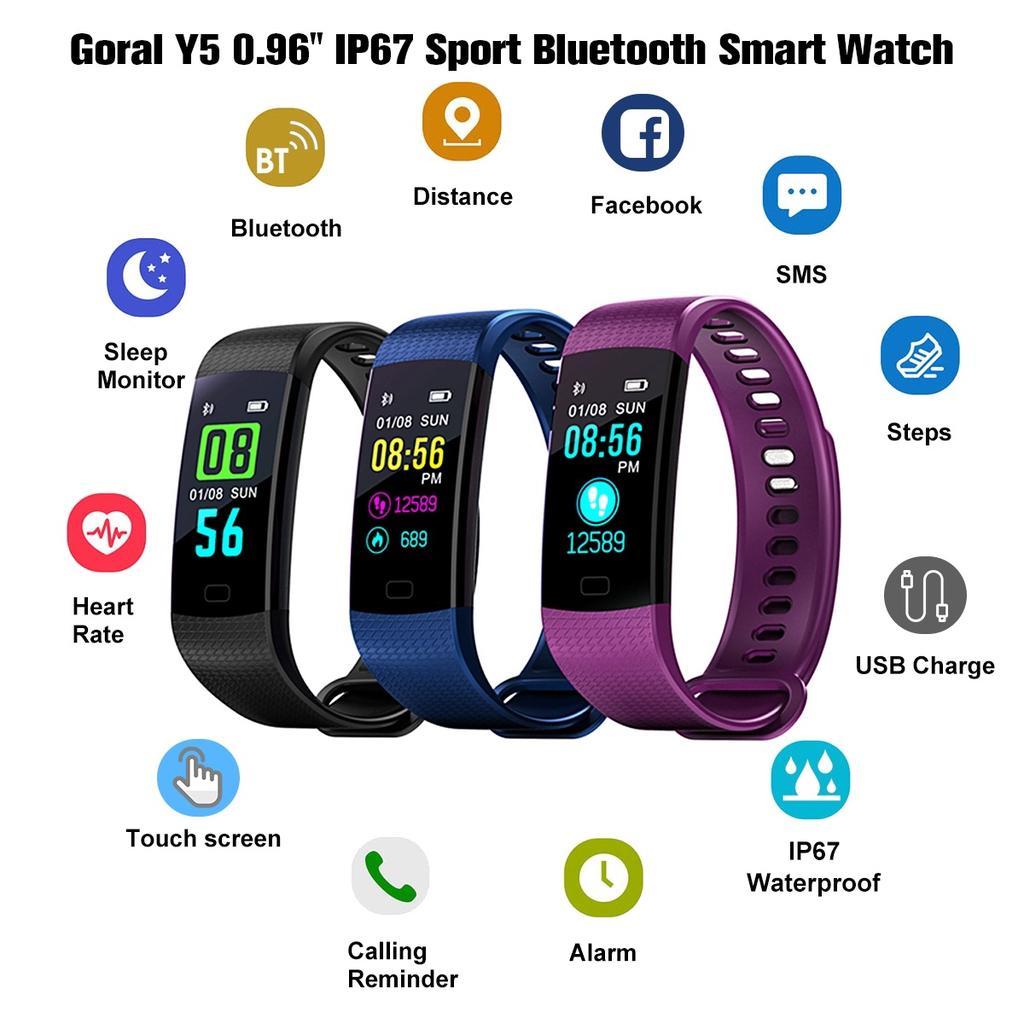 ca6fa3b5d56e Pulsera inteligente bluetooth goral Y5 0.96 solo toque IP67 reloj  inteligente bluetooth deportes multi lenguaje