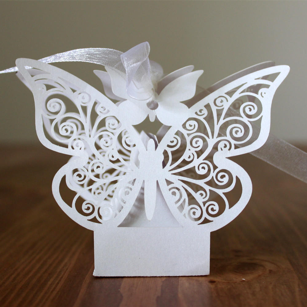 50pcs Laser Cut Butterfly Sweets Gift Candy Cake Boxes Wedding Party ...