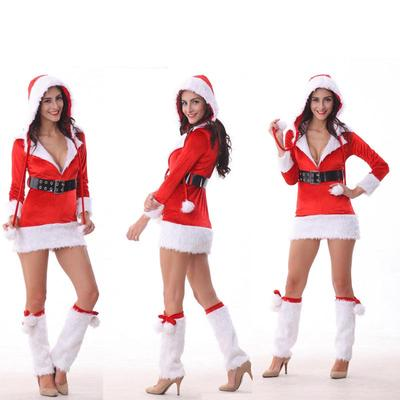 b00455ca6f7 Xmas robe rouge avec ceinture capuche femme hiver Sexy manches longues Noël  nuit parti Cospaly Costume