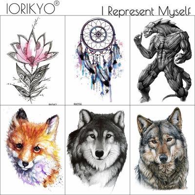 2cfb4c608 3 Pieces Same Style IORIKYO Dreamcatcher Temporary Tattoo Sticker Women  Husky Fake Tatoos Black Men