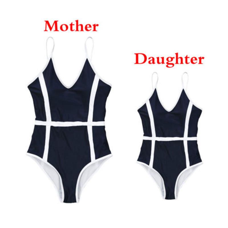 Family Matching Mom and Me Stripe Ruffle Bandage Swimsuit One-Piece Print Bikini Set Beachwear