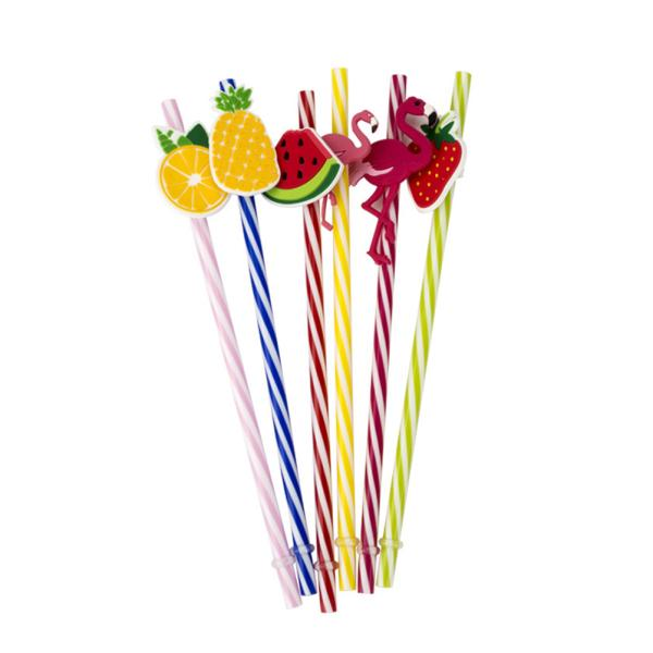 100X Disposable Flexible Straws Plastic Juice Straws Party Drinking Supplies