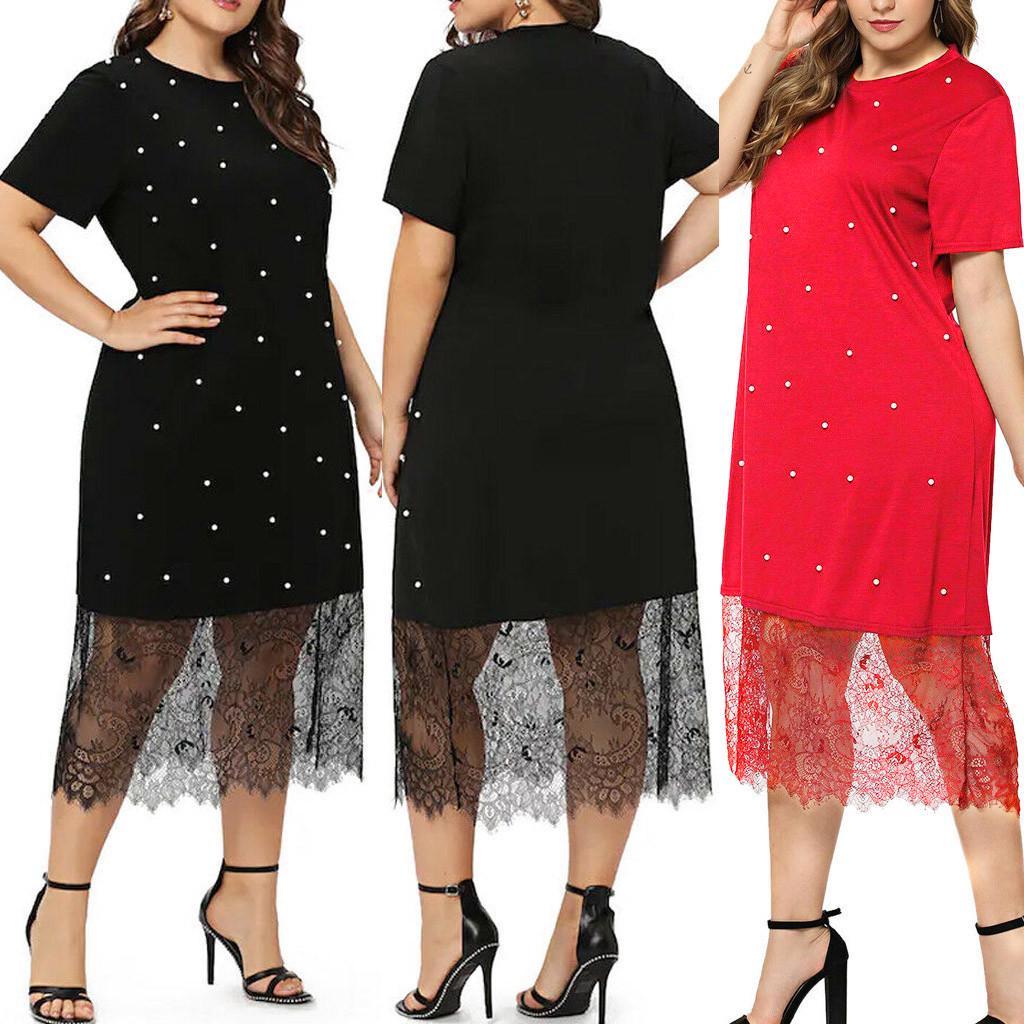 Fashion Women Printed Plus Size Casual O Neck Short Sleeve Pots Lace Dress