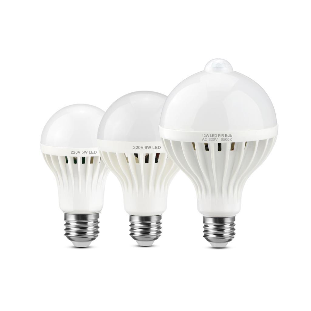 3W 5W 7W 9W 12W E27 PIR Motion Sensor Detection Auto Car LED Light Bulb Lamps