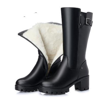 16c0d632 Botas altas de las mujeres genuinas piel zapatos de invierno de Lana Natural