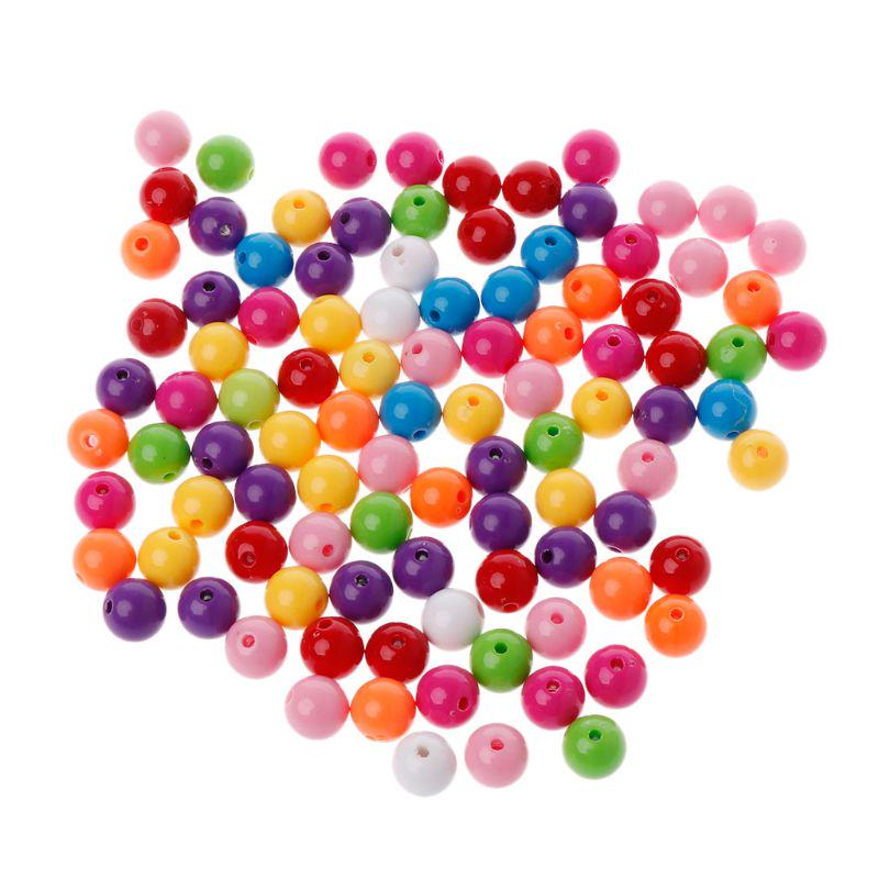 100x Striped Round Resin Spacer Beads Balls for Bracelet Chain Making 10mm