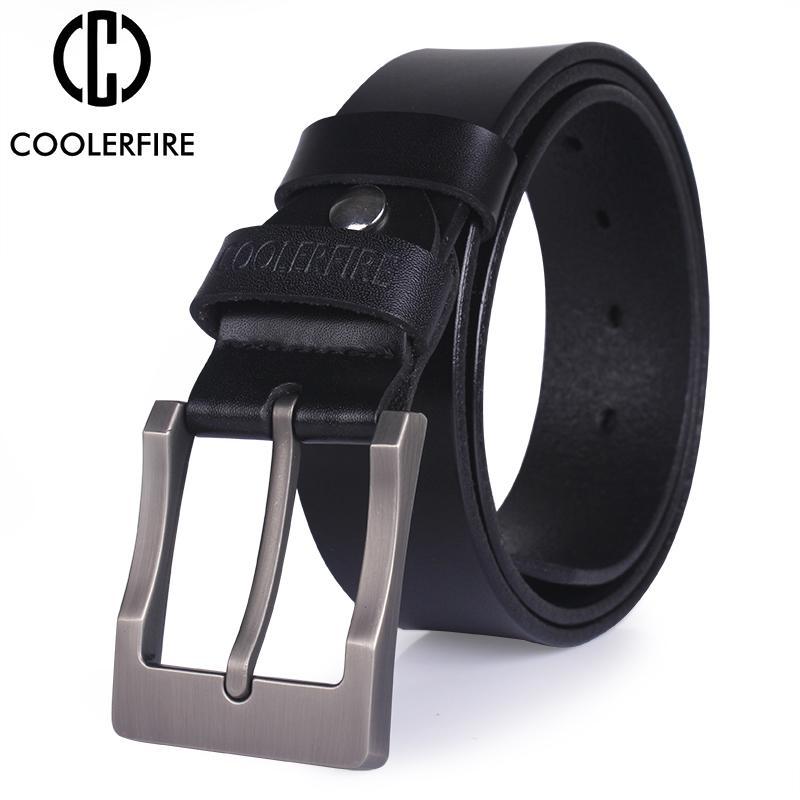 Men  Genuine Leather Belt Classic Pin Buckle Cowboy Belts