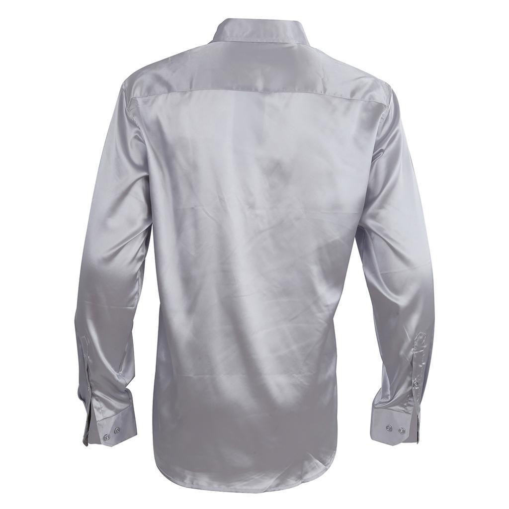 Hombre ropa larga emulación seda camisa Casual de manga - comprar a ... 880aa49316e