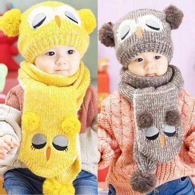 Bebé de invierno los niños ganchillo punto niño caliente bolas sombrero  Gorro + bufanda 37c343fc4bf