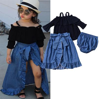 1-6T Little Girls Green Leaves Printed One-Shoulder Sling Ruffle Tops+Print Skirts 2pcs Sets Summer Cute Skirts Suit