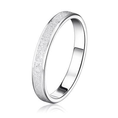 b102da3c4902 Anillo Color Plata con escarcha superficial elegante par anillos estilo  banda de boda