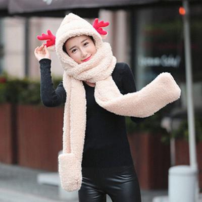 Unicornio feliz Navidad Moda invierno Gorro bufanda guantes establece para  las mujeres chicas calientes gorros peluche bd223a0520d