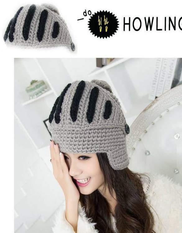 Hombres mujeres Crochet Knit romano caballero casco esquí sombrero ...