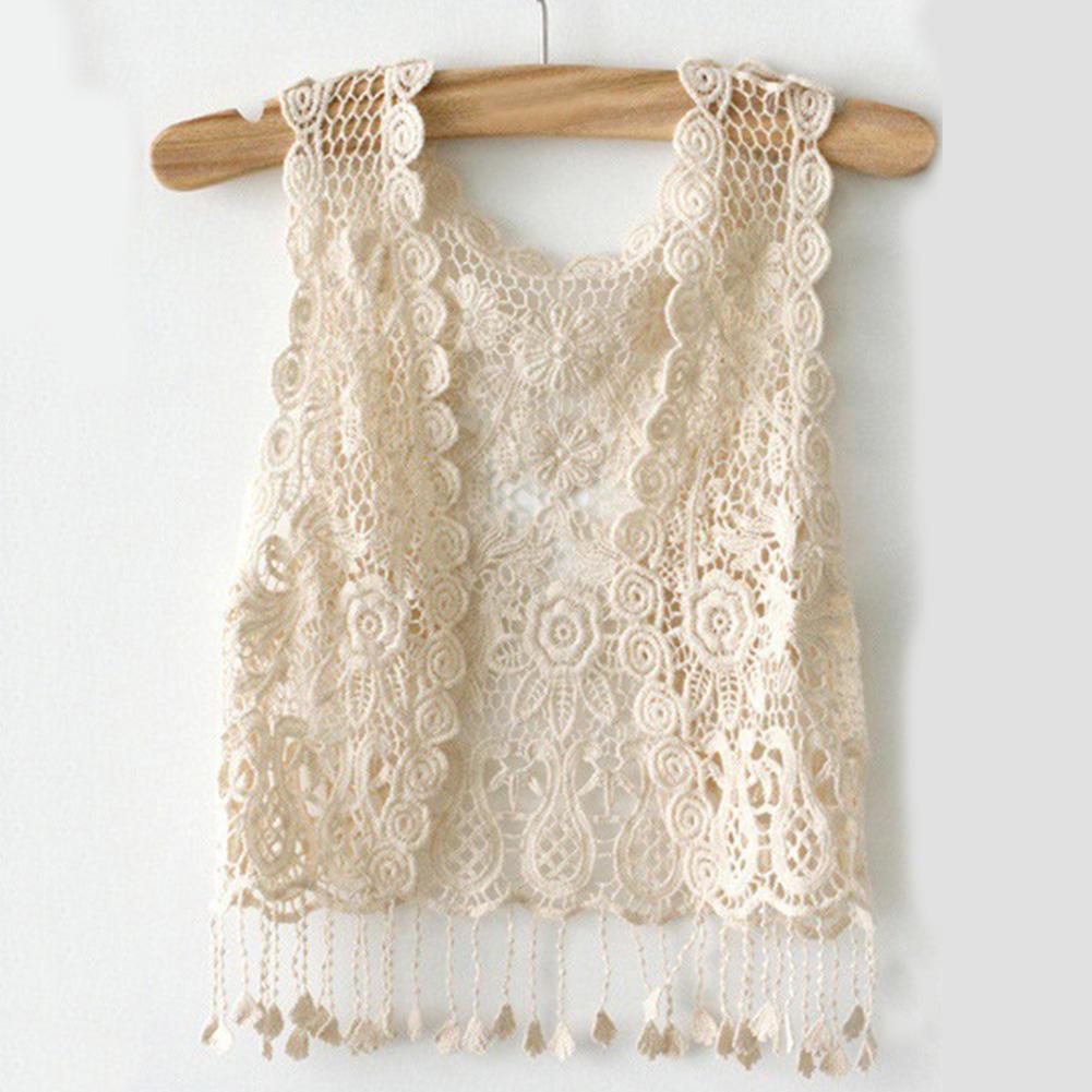 Chica dama Crochet borla encogimiento de hombros parte superior ...