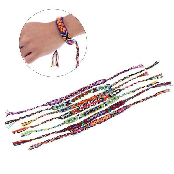 9 coloridas pulseras de la amistad trenzado hilo Hippie C9C6