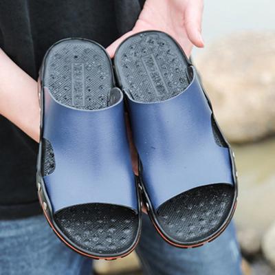 14e9d6344 Обувь Мужская случайный моды Тапочки кожаные сандалии флип флопе пляж летом  отверстие