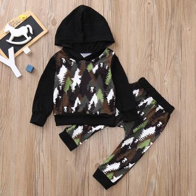 2PCS Boys Camouflage Printed Hoodies Tops Pant Sets Kids Toddler Casual Outfits