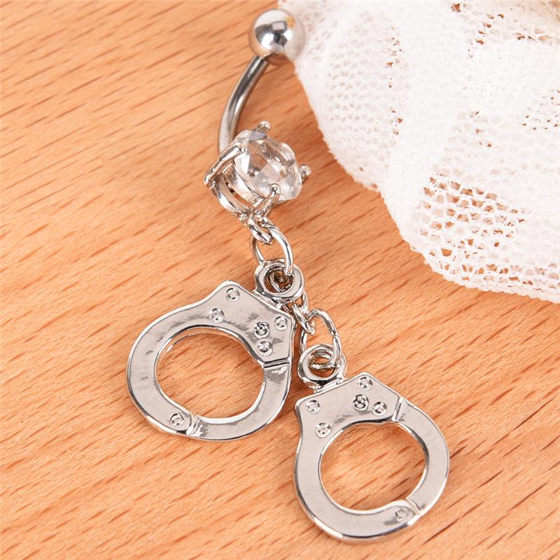 Handcuff Belly Button Ring Crystal Rhinestone Navel Bar Body Piercing Jewelry3C
